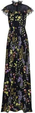 Lace-paneled Floral-print Silk-chiffon Gown