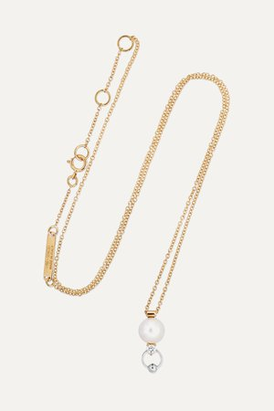 Gold 18-karat yellow and white gold diamond and pearl necklace | Delfina Delettrez | NET-A-PORTER