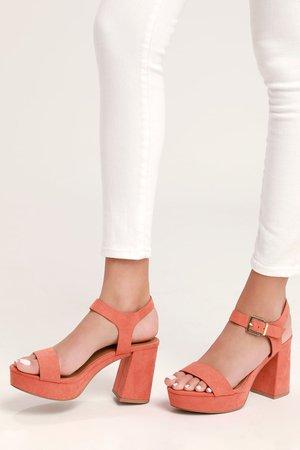 Cute Coral Heels - Vegan Suede Heels - Platform Heels - Heels