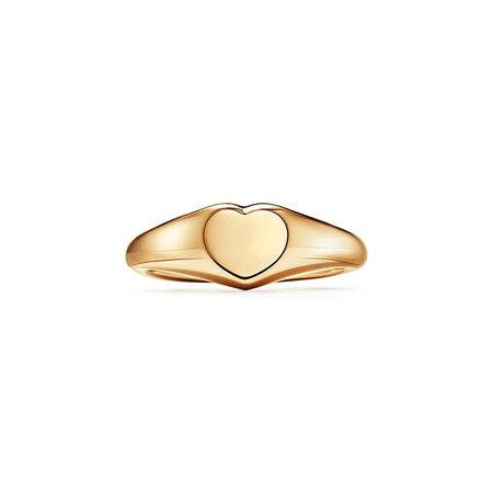 Tiffany & Co.® micro heart signet ring in 18k gold, 6.45 mm wide. | Tiffany & Co.