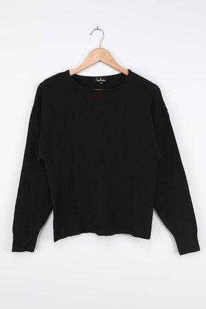 Black Sweater - Drop Shoulder Sweater - Cozy Knit Sweater Top