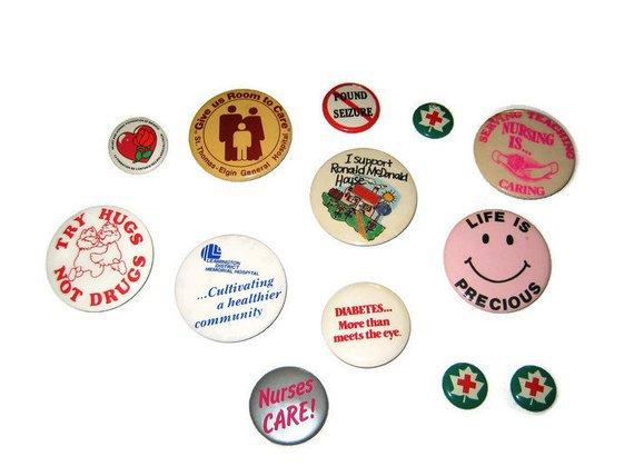 Vintage Medical Health Pin Back Button Lot of 13 Metal Nurse | Etsy