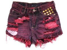 Pinterest - Shredded and studded high waisted shorts XS by deathdiscolovesyou, $50.00 | DEATH DISCO SHORTS