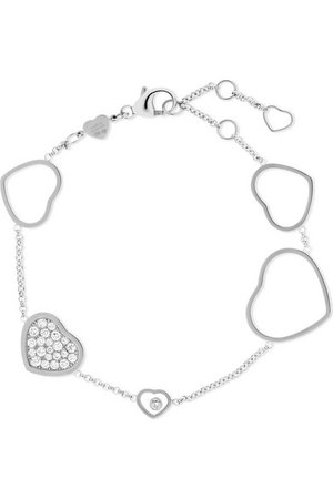 Chopard | Happy Hearts 18-karat white gold diamond bracelet | NET-A-PORTER.COM