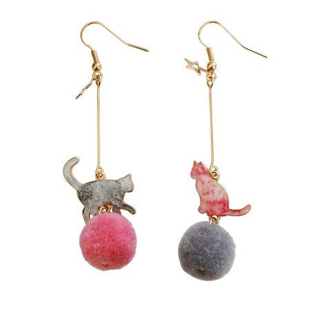 cat pom pom earrings