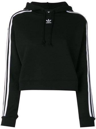 Black Adidas Originals Cropped Hoodie   Farfetch.com