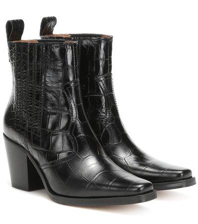 Western Leather Ankle Boots - Ganni   Mytheresa