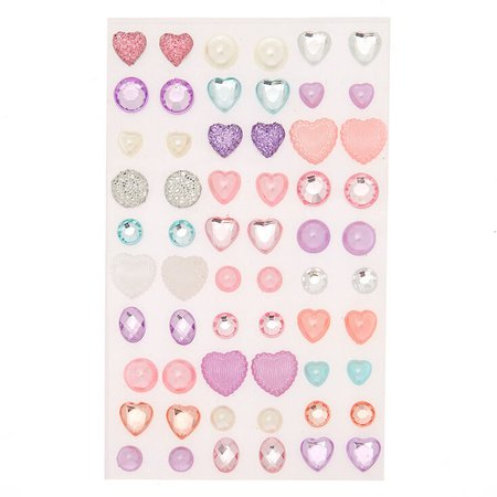 Claire's Club Pastel Heart Stick On Earrings - 30 Pack   Claire's US