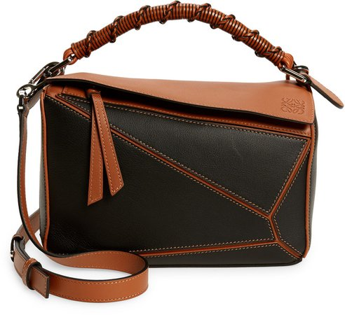 Small Puzzle Craft Leather Shoulder Bag