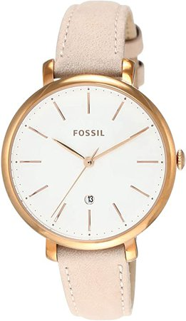 Fossil Women's Jacqueline Stainless Steel Quartz Watch with Leather Calfskin Strap, Beige, 13 (Model: ES4369): Fossil: Watches