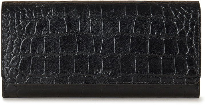 Croc Embossed Leather Continental Wallet