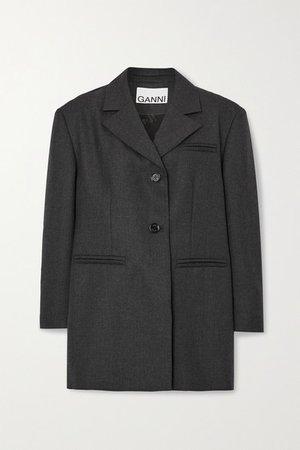 Oversized Woven Blazer - Charcoal