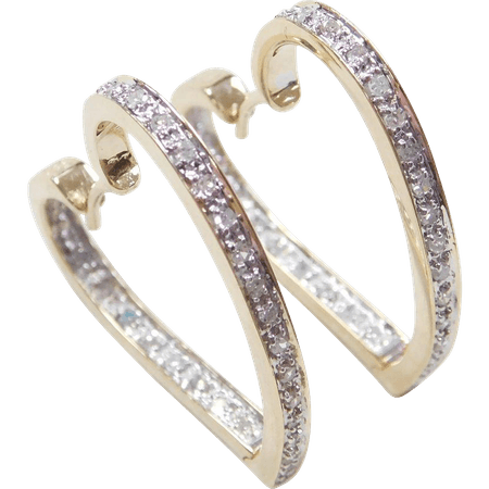 ITEM: Vintage 14k Gold Two-Tone Diamond Heart Hoop Earrings COMPOSITION: 14k Yellow and White Gold, Acid tested GEM: Diamond…   Forever Classic Jewelry   Pinte…