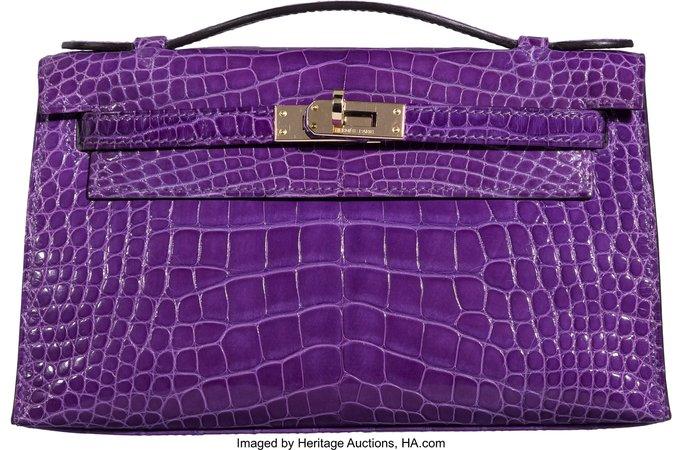 Hermès Crocus Alligator Kelly Pochette Bag with Gold Hardware