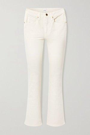 Ivory Vivian cropped high-rise bootcut jeans   Khaite   NET-A-PORTER