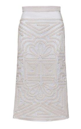 Ancient Times Embroidered Cotton Midi Skirt By Johanna Ortiz   Moda Operandi