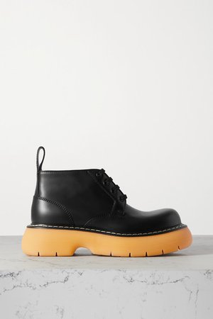 The Bounce Leather Ankle Boots - Black