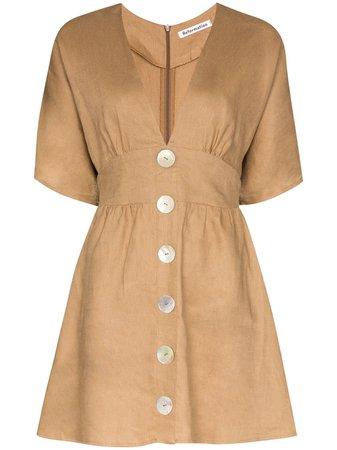 Brown Reformation flared button mini dress 1306312KHA - Farfetch