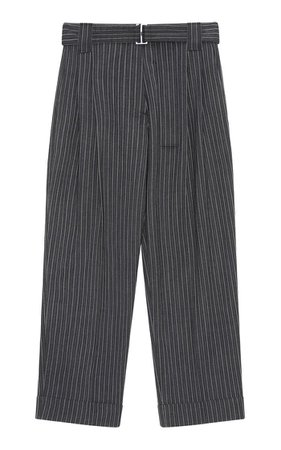 Stripe Suiting Belted Wool-Blend Pants By Ganni | Moda Operandi