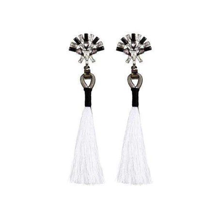 Earrings | Shop Women's White Rhinestone Top Tassel Drop Earrings at Fashiontage | 09857a07-0-color-white