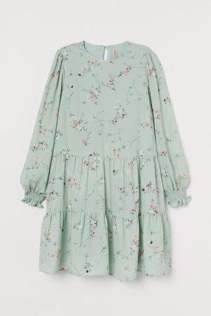 Patterned Dress - Mint green/floral - Ladies   H&M US