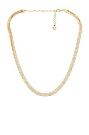 BaubleBar Gia Herringbone Necklace in Gold   REVOLVE
