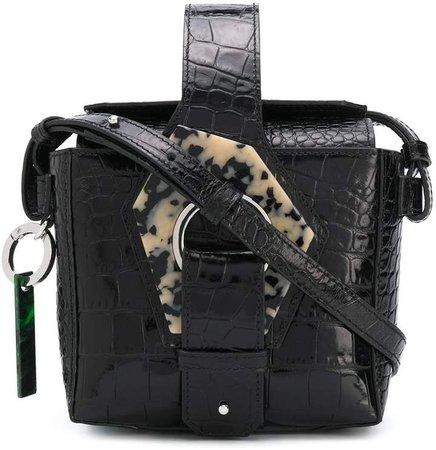 embossed crocodile-effect crossbody bag
