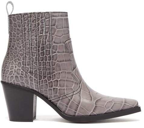 Callie Western Crocodile Effect Leather Boots - Womens - Grey