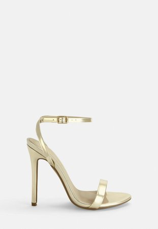 Gold Strappy Barely There Heels | Missguided
