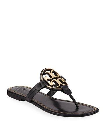Tory Burch Miller Flat Metal Logo Slide Sandals | Neiman Marcus