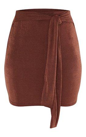 Brown Acetate Slinky Belted Mini Skirt | PrettyLittleThing