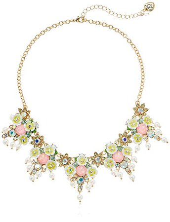 Amazon.com: Betsey Johnson (GBG) Women's Mixed Flower & Stone Cluster Necklace, Yellow, One Size: Gateway