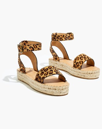 Soludos Flatform Cadiz Sandals in Leopard Calf Hair