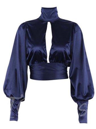 dark blue satin top