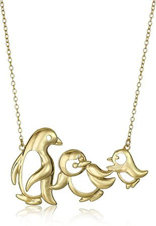 """Amazon.com: 18k Yellow Gold Plated Sterling Silver Penguin Family Necklace, 18"""": Clothing"""
