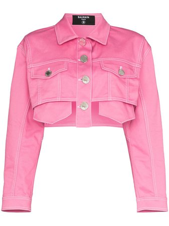 Balmain Cropped Denim Jacket - Farfetch