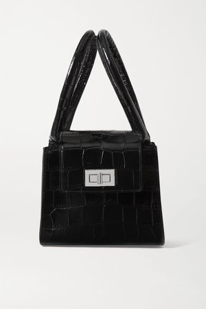 Black Sabrina small croc-effect leather tote | BY FAR | NET-A-PORTER