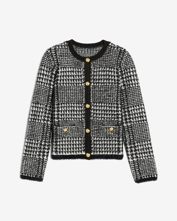 Houndstooth Novelty Button Sweater Jacket   Express