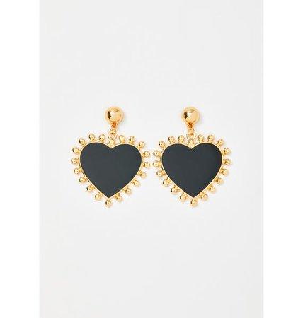 Gold Trim Heart Earrings - Black   Dolls Kill