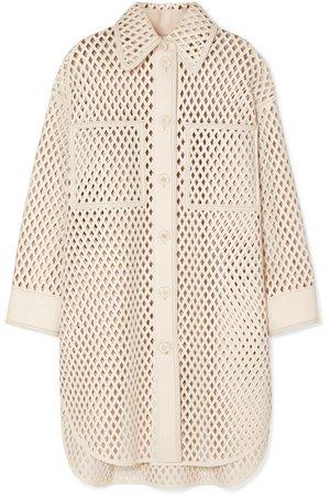 Fendi | Oversized laser-cut leather jacket | NET-A-PORTER.COM