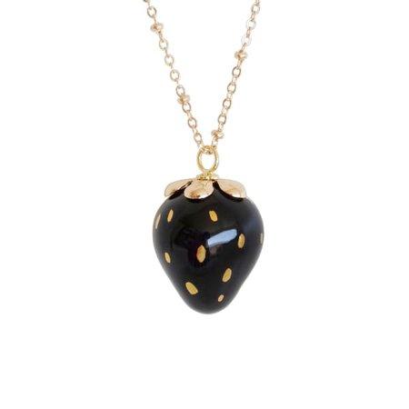 Golden Black Porcelain Strawberry Necklace | POPORCELAIN | Wolf & Badger
