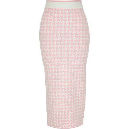 Pink houndstooth knitted midi skirt | River Island