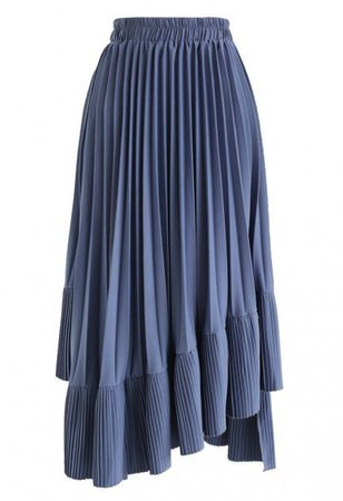 Mesh Asymmetric Hem Pleated Midi Skirt in Lilac - Skirt - BOTTOMS - Retro, Indie and Unique Fashion