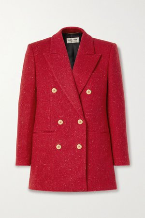 Red Double-breasted wool-tweed blazer | SAINT LAURENT | NET-A-PORTER