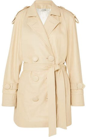 Leather Trench Coat - Beige