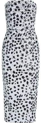 Strapless Sequined Crepe Midi Dress