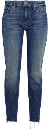 Frayed High-rise Slim-leg Jeans