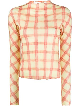 Charlotte Knowles Check long-sleeve Blouse - Farfetch