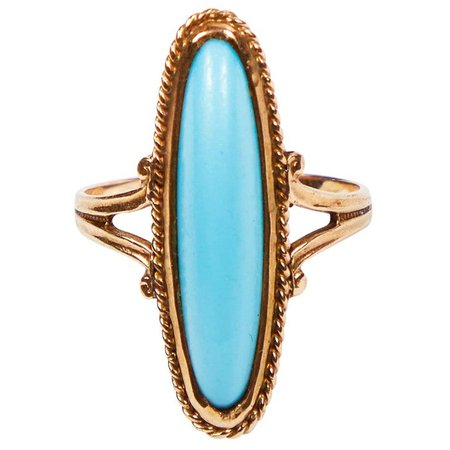 Victorian Persian Turquoise Petite Pinky Ring by Ostby and Barton in 10 Karat Gold For Sale at 1stdibs