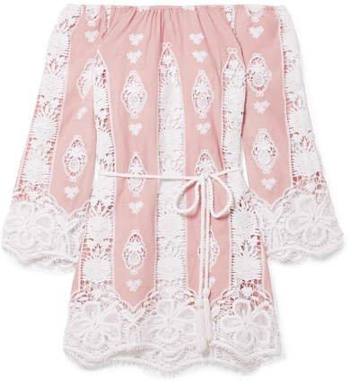 Bridgette Off-the-shoulder Crocheted Cotton-voile Mini Dress - Blush